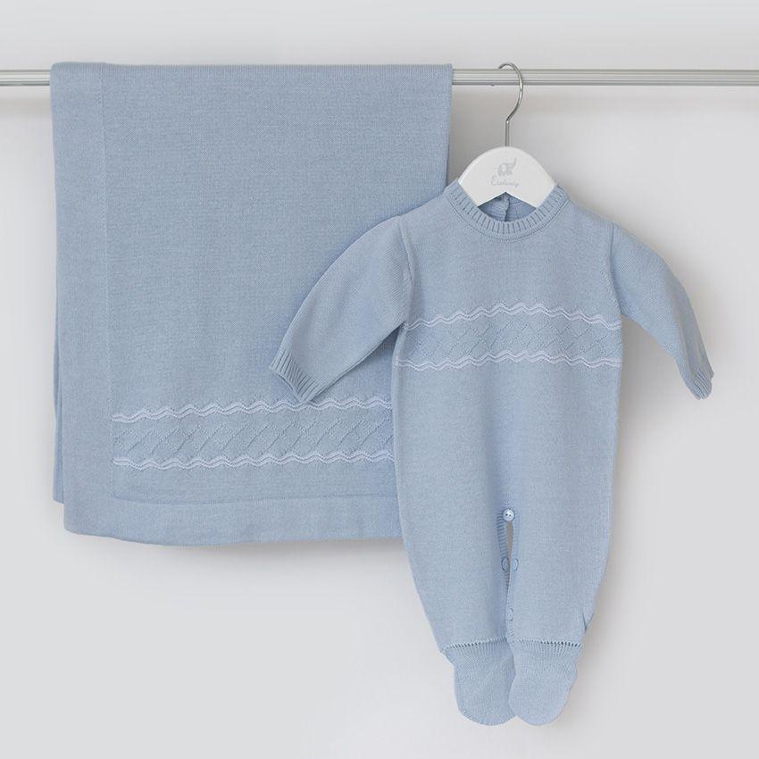 Saída Maternidade Pelúcia Azul - Tricô