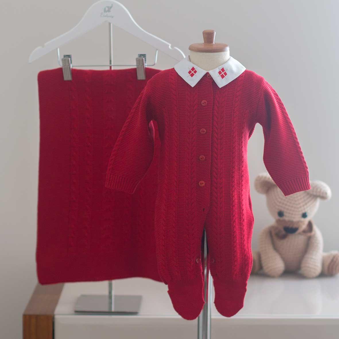 Saída Maternidade Ravi Vermelha - Tricô