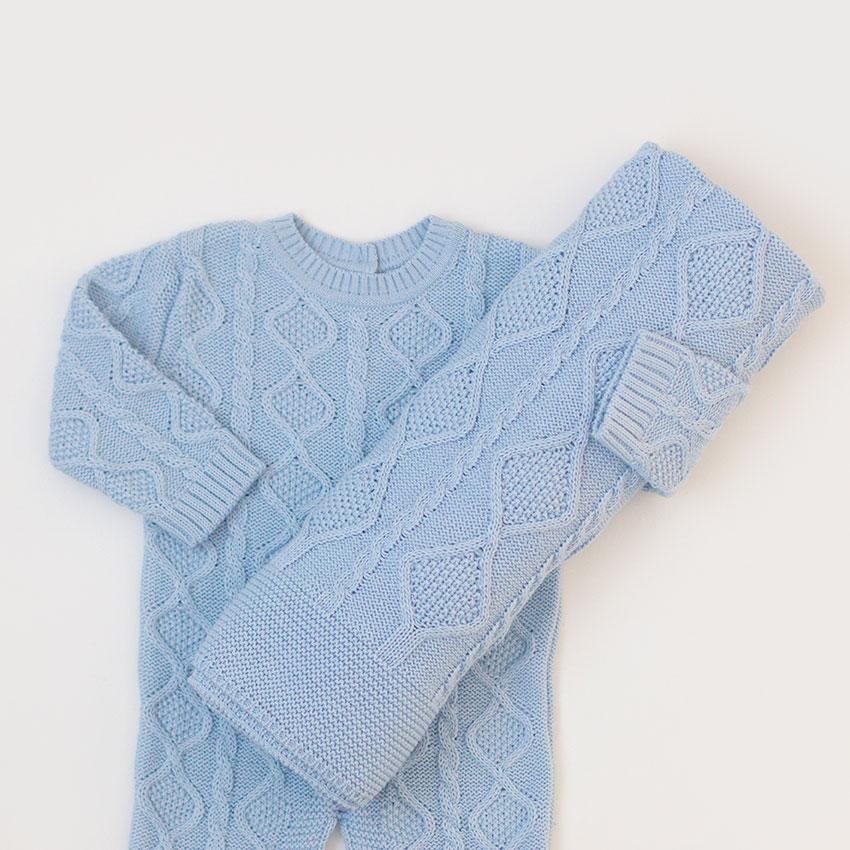Saída Maternidade Théo Azul - Tricô