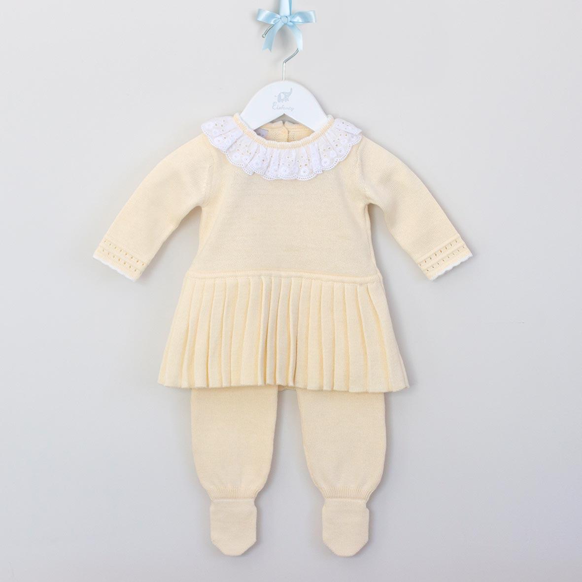 Saída Maternidade Vestido Renda Inglesa Amarelo  - Tricô