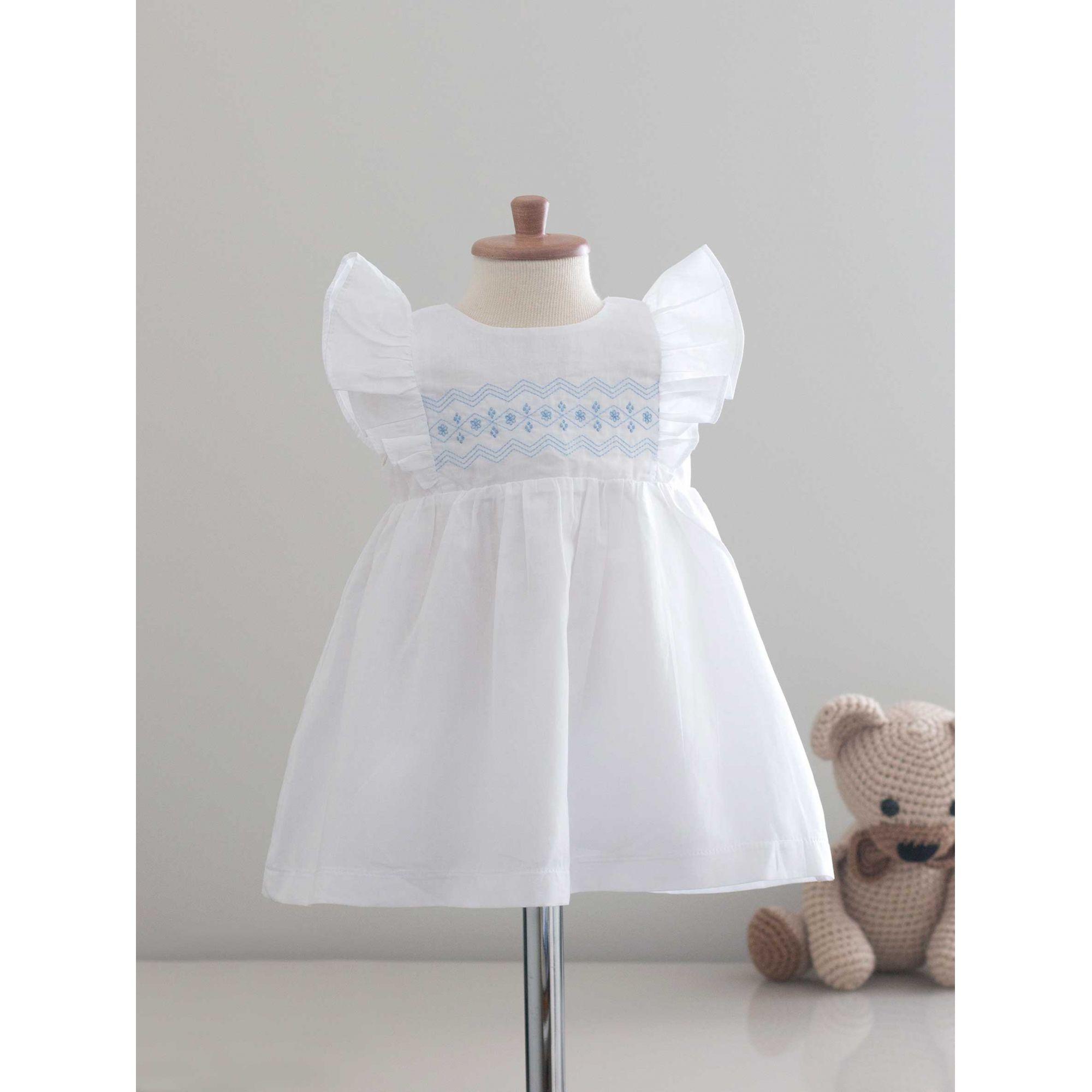 Vestido Clair Branco e Azul
