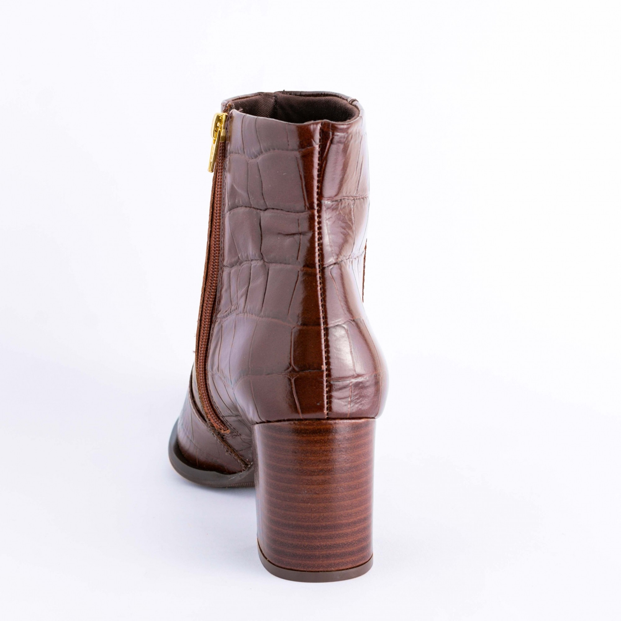 Bota Cano Curto Croco Marron