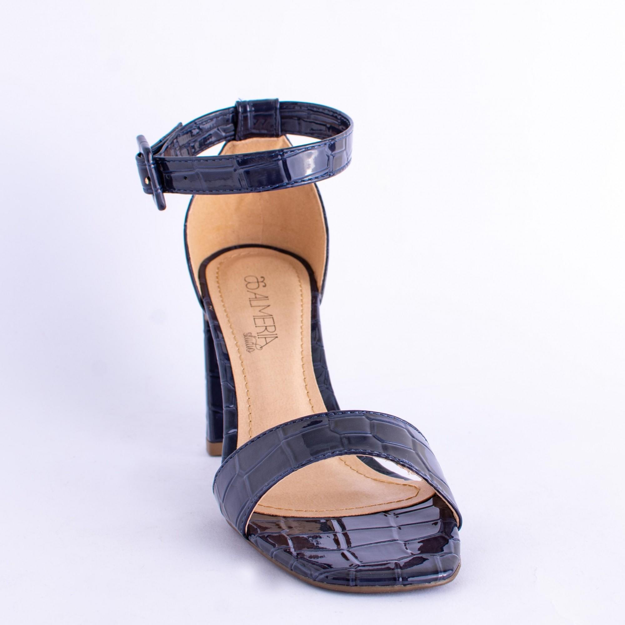 Sandália Azul Croco Tira Salto Bloco
