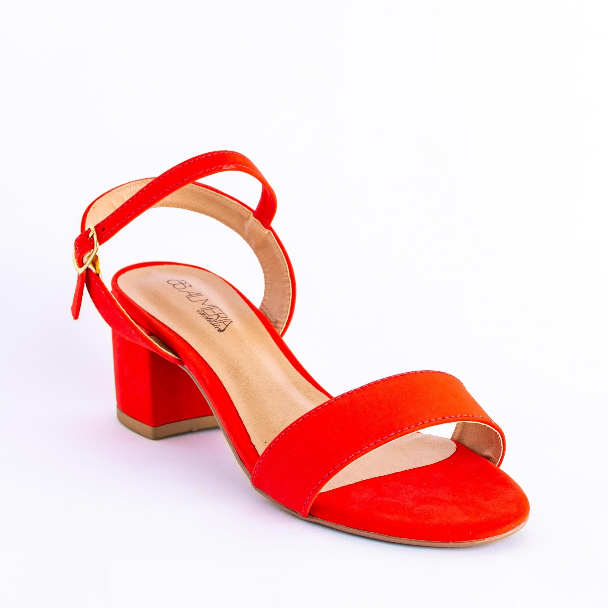 Sandália Nobuk Vermelha Salto Bloco Médio
