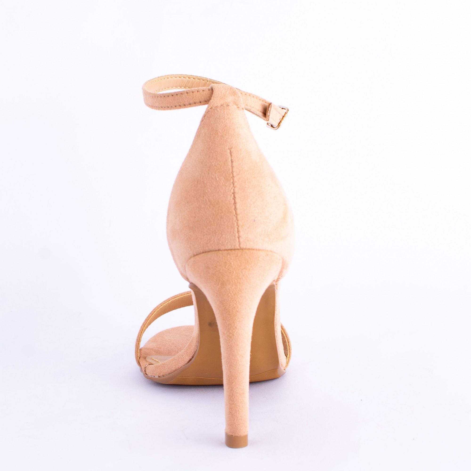 Sandália Tira Nude Salto Fino Alto
