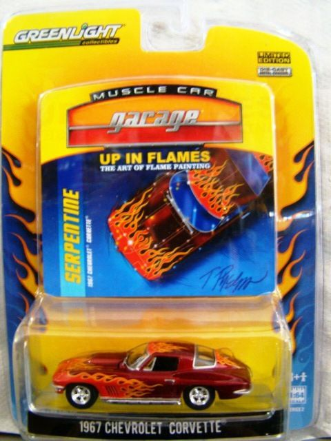 1967 Chevrolet Corvette 2009 Greenlight Muscle Car Garage up in Flames 1 64