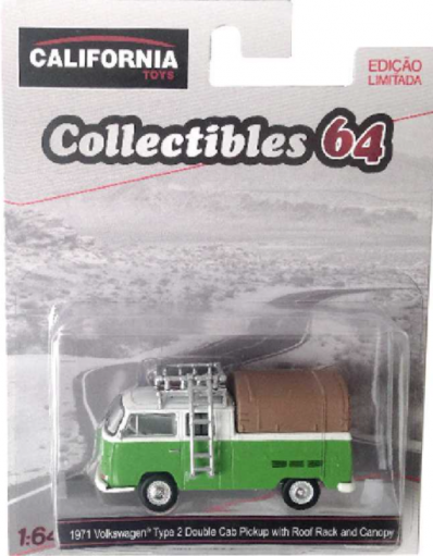 Greenlight 1971 VW Kombi Volkswagen Type 2 Double Cab Pickup + Roof Rack escala 1/64