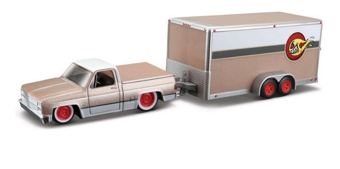Maisto 1987 chevy 1500 car trailer - 1:64   -   58817