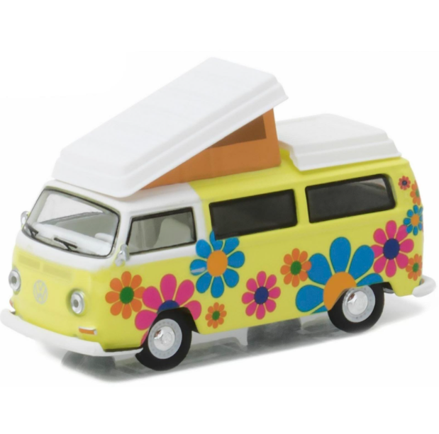 Miniatura - 1:64 - ​​Kombi 1968 Volkswagen Type 2 T2 Westfalia Campmobile - Club Vee-Dub - Greenlight