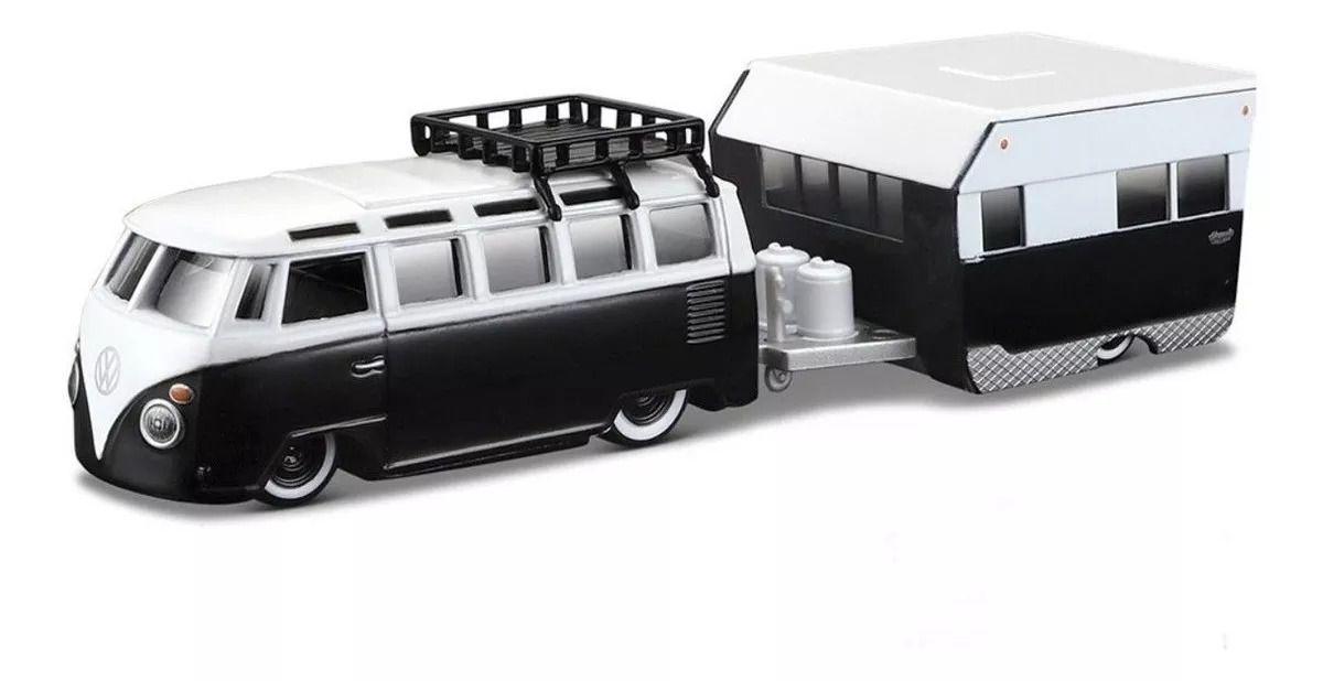 Volkswagen Van Samba Kombi + Alameda Trailer - Tow Go - 1/64 - Maisto 58817
