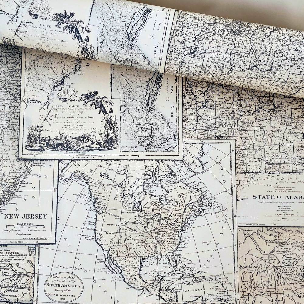 Papel de Parede Vinílico Importado Lavável Mapa V0106
