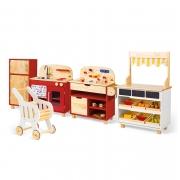 Brinquedoteca Mini Cozinha + Geladeira + Oficina + Mercadinho e Carrinho de Compras