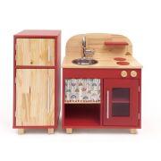 Kit Mini Cozinha e Geladeira - Vermelha