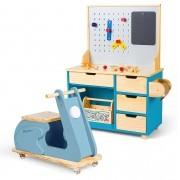 Kit Oficina Compacta Lila + Motoneta Azul | Ateliê Materno