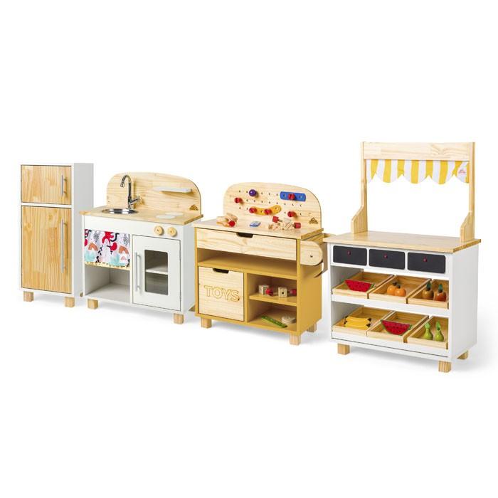 Brinquedoteca Completa: Cozinha + Geladeira + Oficina + Mercadinho