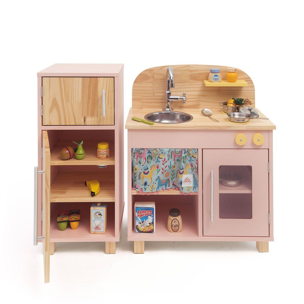 Kit Mini Cozinha e Geladeira - Rosa