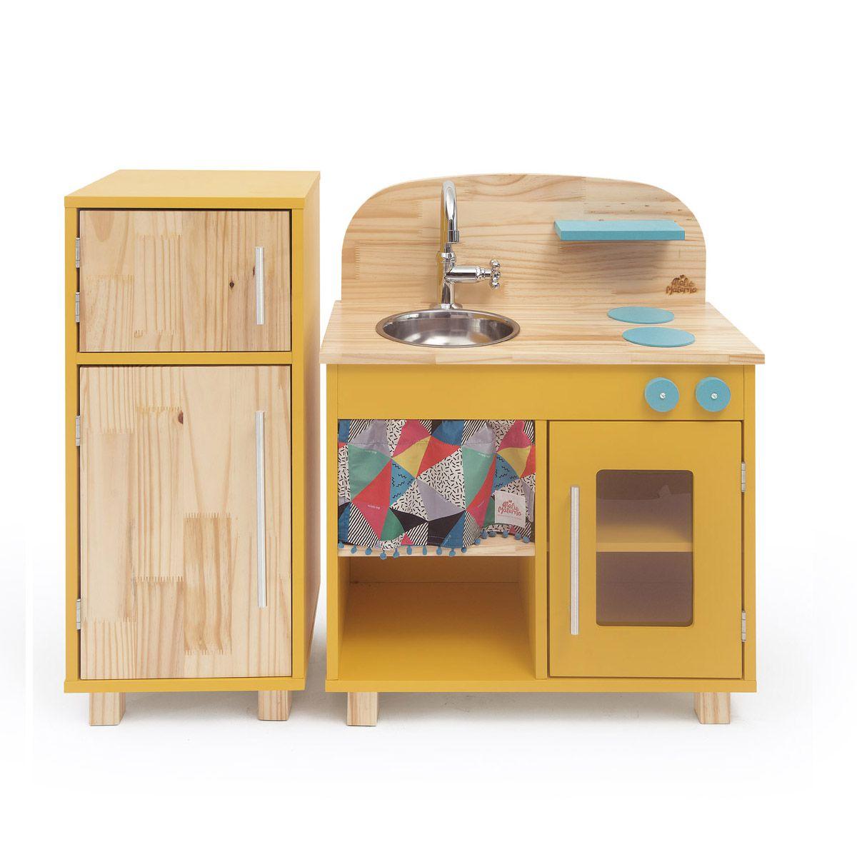 Kit Mini Cozinha e Geladeira - Amarela