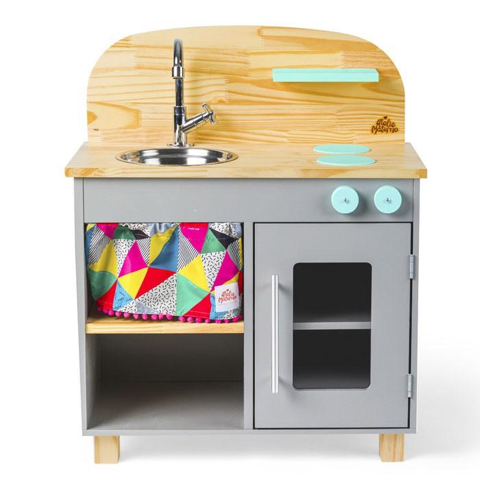 Kit Mini Cozinha e Geladeira - Cinza   Ateliê Materno