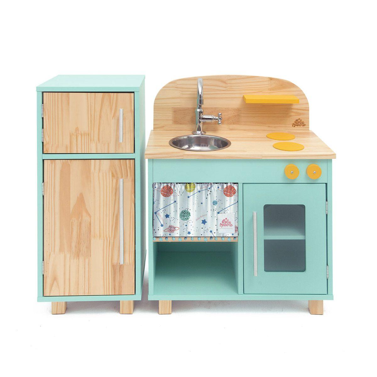 Kit Mini Cozinha e Geladeira - Verde Água