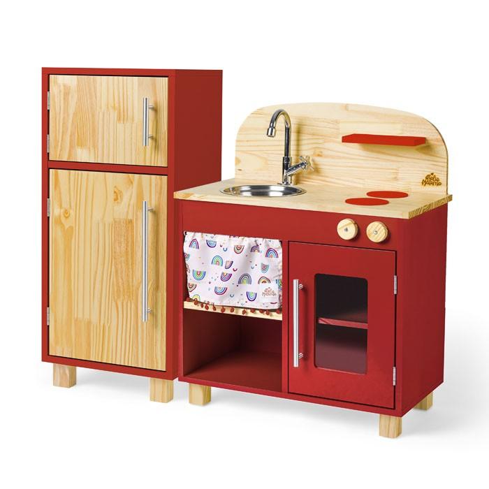 Kit Mini Cozinha e Geladeira - Vermelha | Ateliê Materno