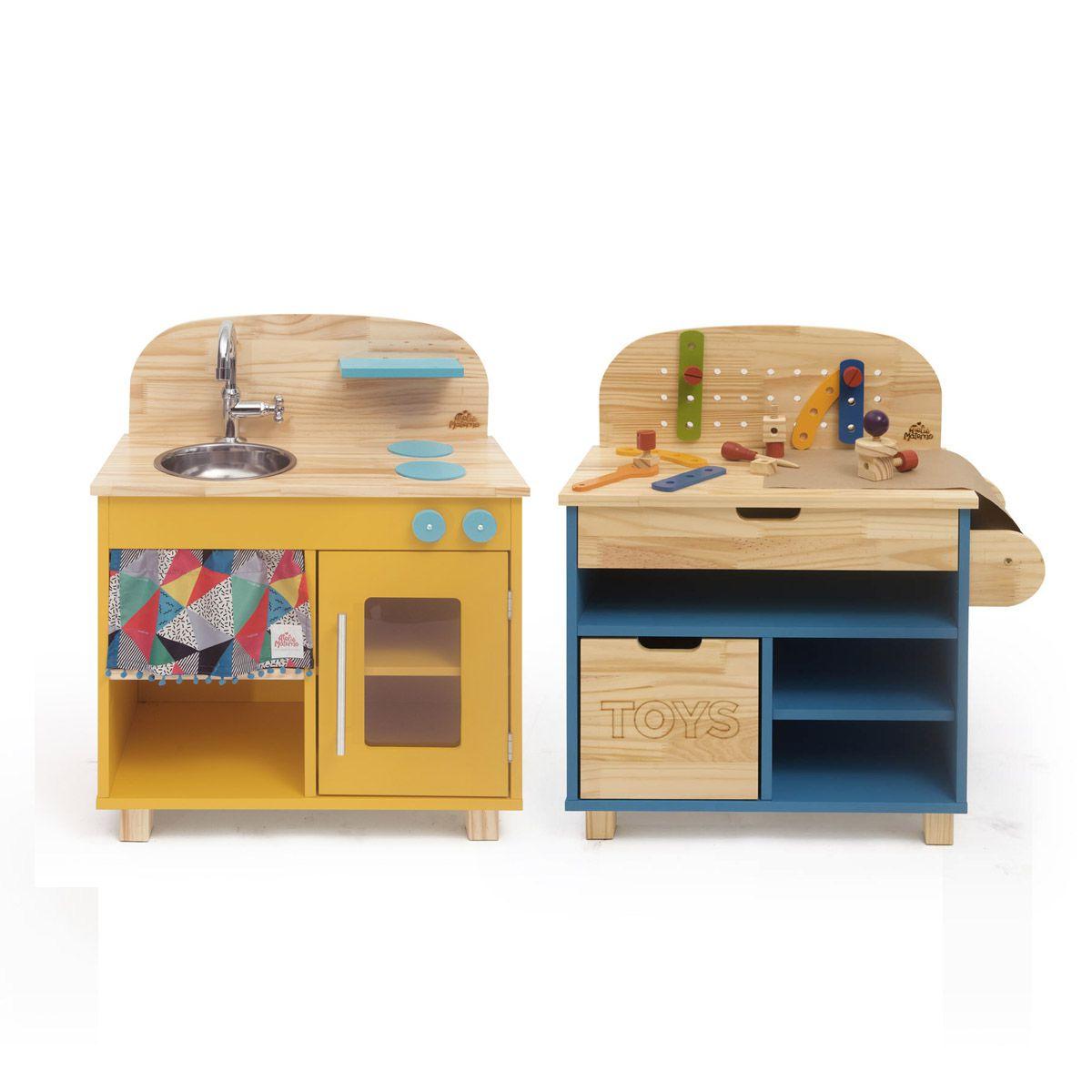 Kit Mini Cozinha Amarela + Oficina Azul | Ateliê Materno