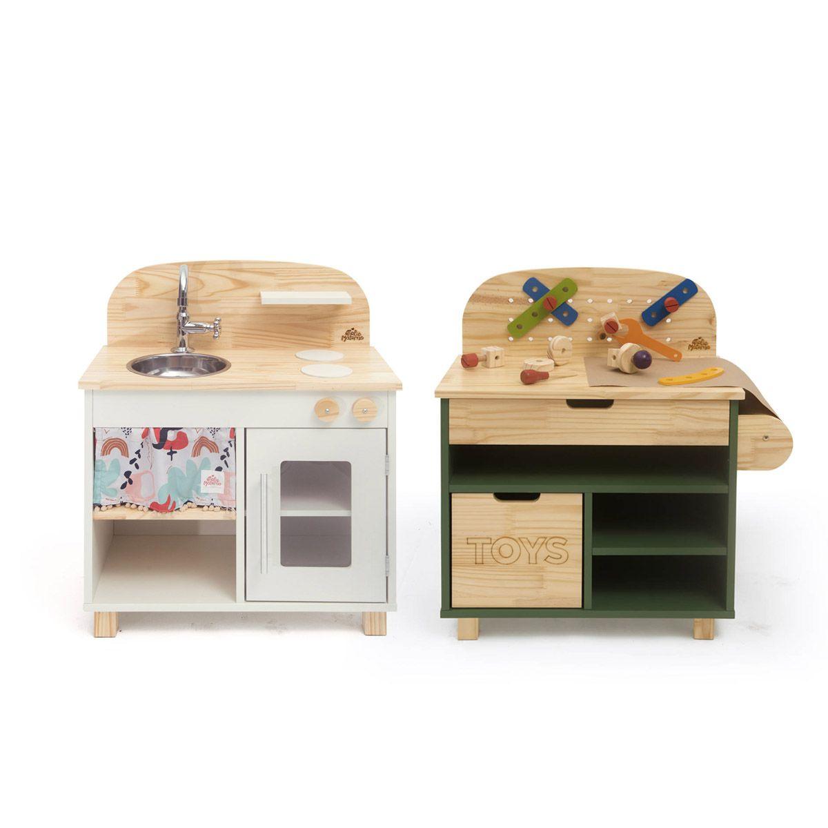 Kit Mini Cozinha Off White + Oficina Verde