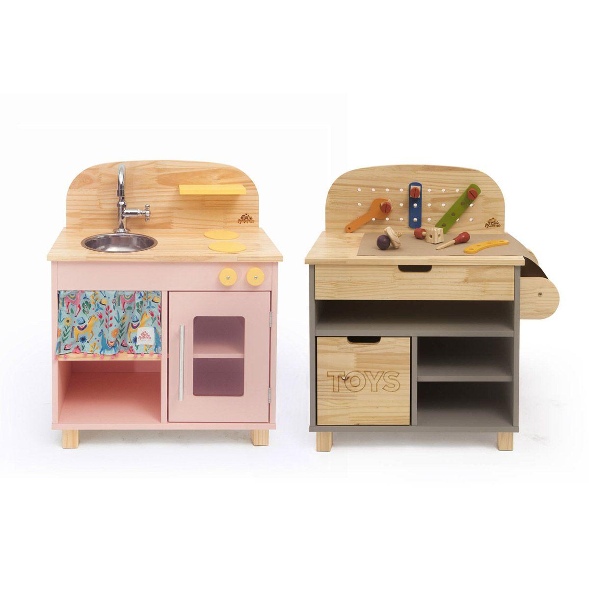 Kit Mini Cozinha Rosa + Oficina Cinza