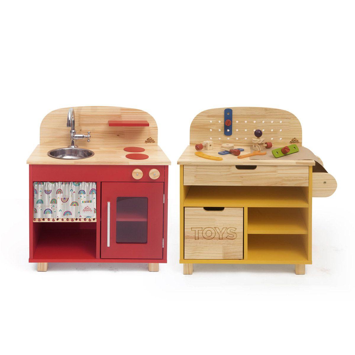 Kit Mini Cozinha Vermelha + Oficina Amarela
