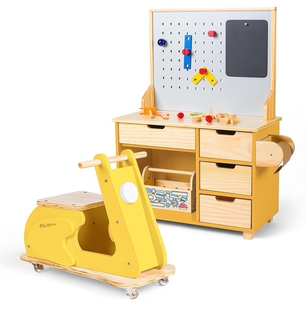 Kit Oficina Compacta Cora + Motoneta Amarela | Ateliê Materno