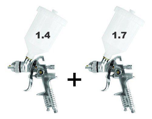 Kit Pistola P/ Pintura Profissional Hvlp C/ Bico 1.4 E 1.7 Caneca 600ml Steula