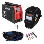 Kit Maquina Solda Inversora Mini Tig MMA 228 USK + Máscara Automática Titanium