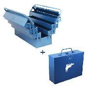 Kit Caixa P/ Ferramentas C/ 7 Gavetas + Caixa Furadeira 3/8 e 1/2'' de Metal Fercar