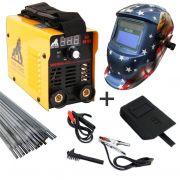 Kit Maquina Inversora P/ Solda Digital Mini MMA 205 220v USK + Mascara Automatica Aguia