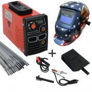 Kit Maquina Inversora P/ Solda Digital Mini MMA 260BM 220v USK + Mascara Automatica Aguia