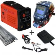 Kit Maquina Inversora Solda Digital MMA 230BM 220v USK c/ Mascara Automatica Aguia