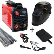 Kit Maquina Solda Inversora Digital Mini MMA 210 127/220V Bivolt + Mascara Automatica