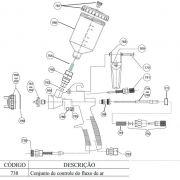 Kit Peças Reposição P/ Pistola Pintura Steula BC 77 0.8 e 1.2 COD.: 738 Conjunto de controle do fluxo de ar