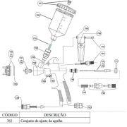 Kit Peças Reposição P/ Pistola Pintura Steula BC 77 0.8 e 1.2 COD.: 782 Conjunto de Ajuste da Agulha