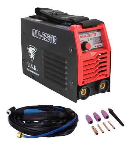 Maquina Inversora Solda TIG MMA 228 220v Digital USK Mini C/ Tocha E Acessorios