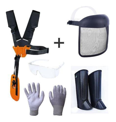 Kit Proteção Roçadeira Cinto Perneira óculos Protetor Facial