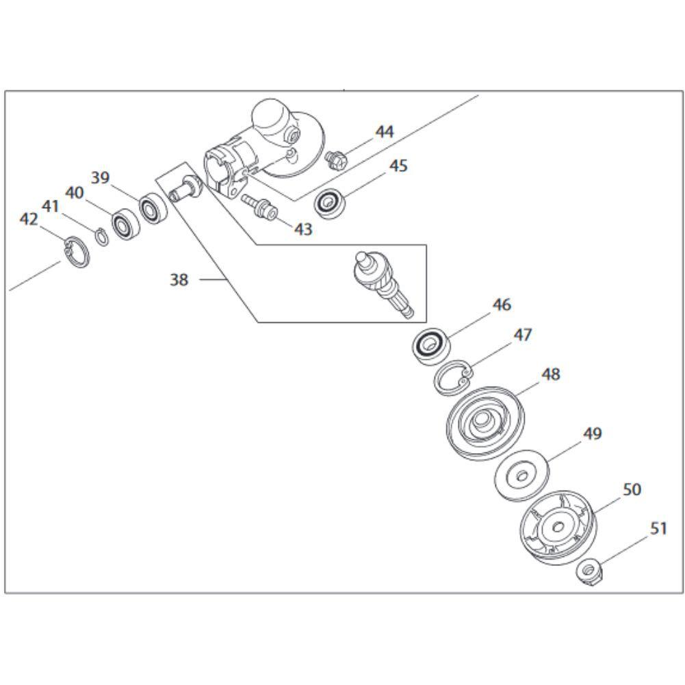 Caixa Angular de Transmissão 28mm x 9 Estrias P/ Roçadeiras Makita RBC 411 412 Original Cod.: 123835-3