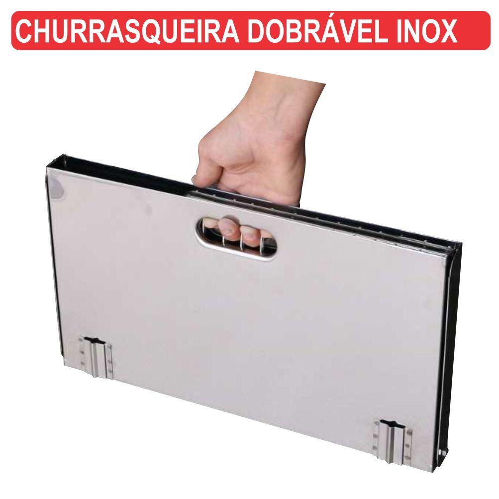 Churrasqueira em INOX Compacta Dobravel e Portatil + 2 Grelhas A Carvão Fercar CHU-6