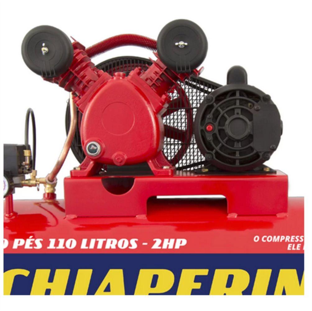 Compressor de Ar 10PCM Monofásico 110 Litros Bivolt - CHIAPERINI-10/110RED