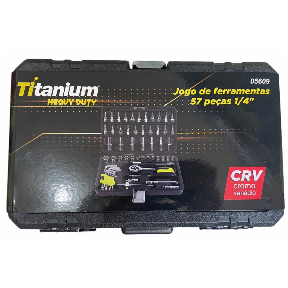 Jogo Kit De Soquete Catraca 57 Peças 1/4 Profissional Titanium Heavy Duty Cod.: 05609