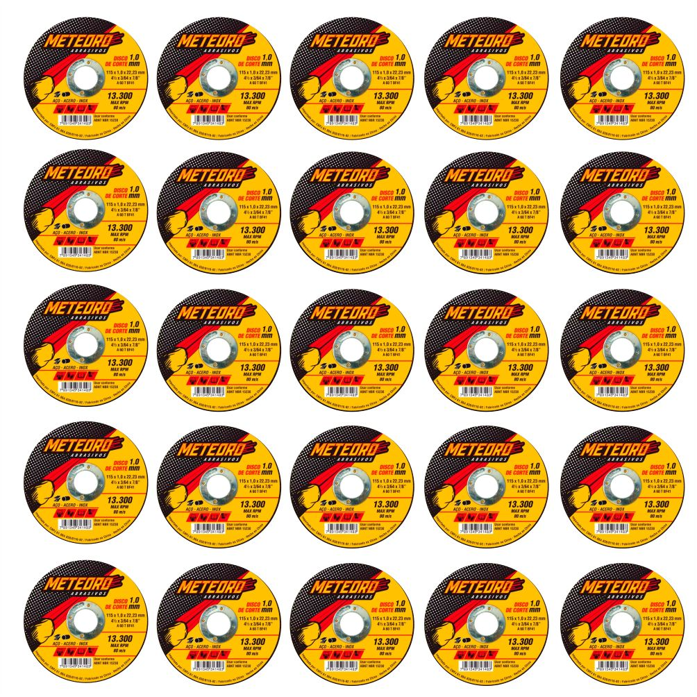 Kit 25 Disco de Corte Fino de Aço Inox 4.1/2 Pol. - 115 x 1.0 x 22mm - METEORO