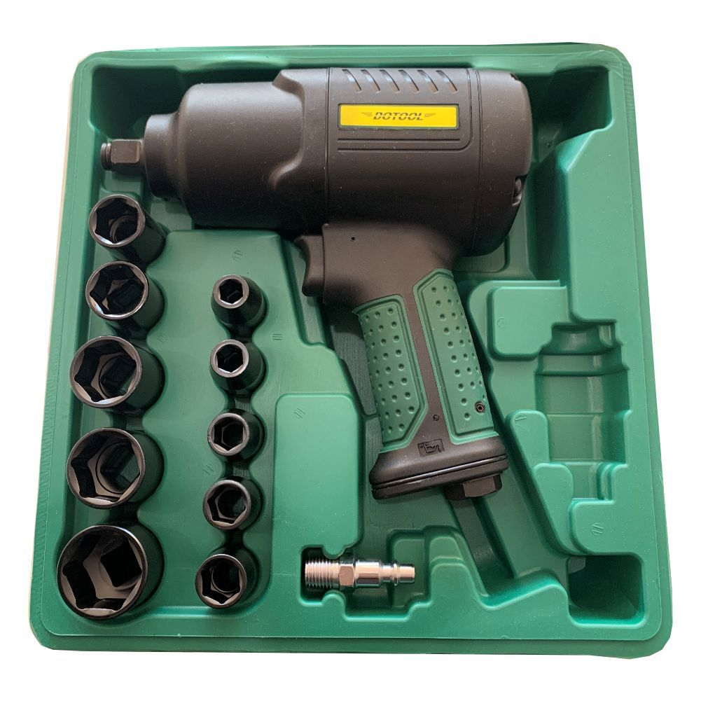 Kit Chave Impacto Pneumatica Profissional 1/2 Dotool Torque 61 C/ 10 Soquetes