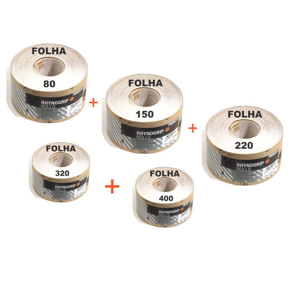 Kit Lixas Cinta 80 / 150 / 220 / 320 / 400 C/ 2 Metros 115mm Indasa Rhynogrip Rools Profissinal P/ Funilaria Movelaria