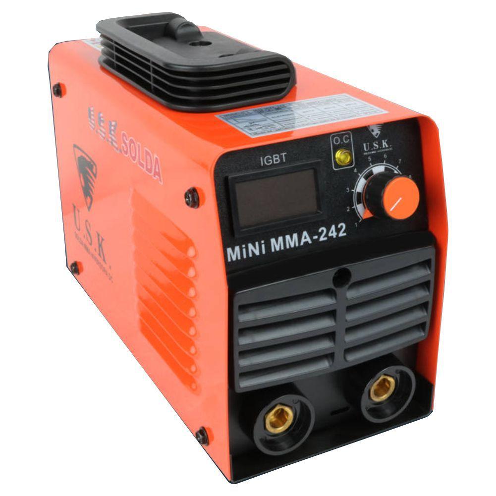 Kit Maquina de Solda Inversora Profissional Mini MMA 242 220v USK + Mascara de Solda Automatica Titaniun 38.202