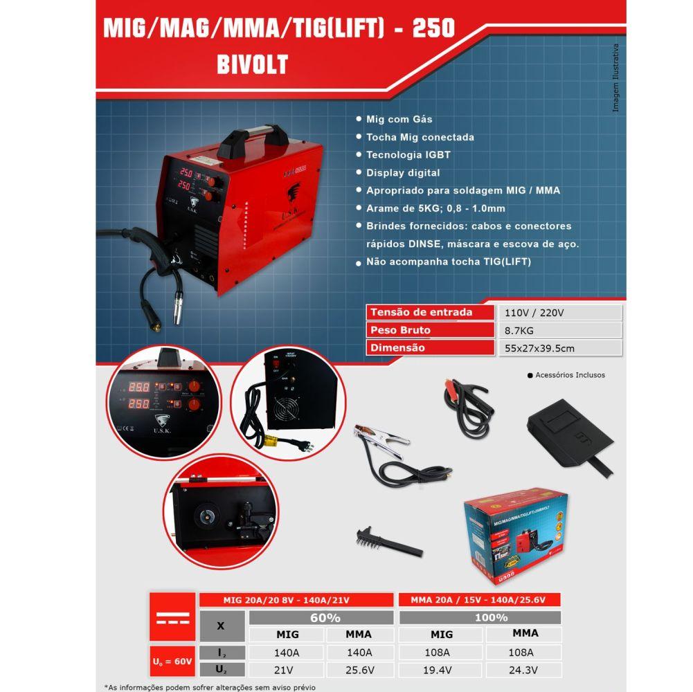 Kit Maquina De Solda Multiprocesso MMA MIG TIG LIFT 250 127 / 220v + Arame de 5kg + Mascara de Solda Automatica