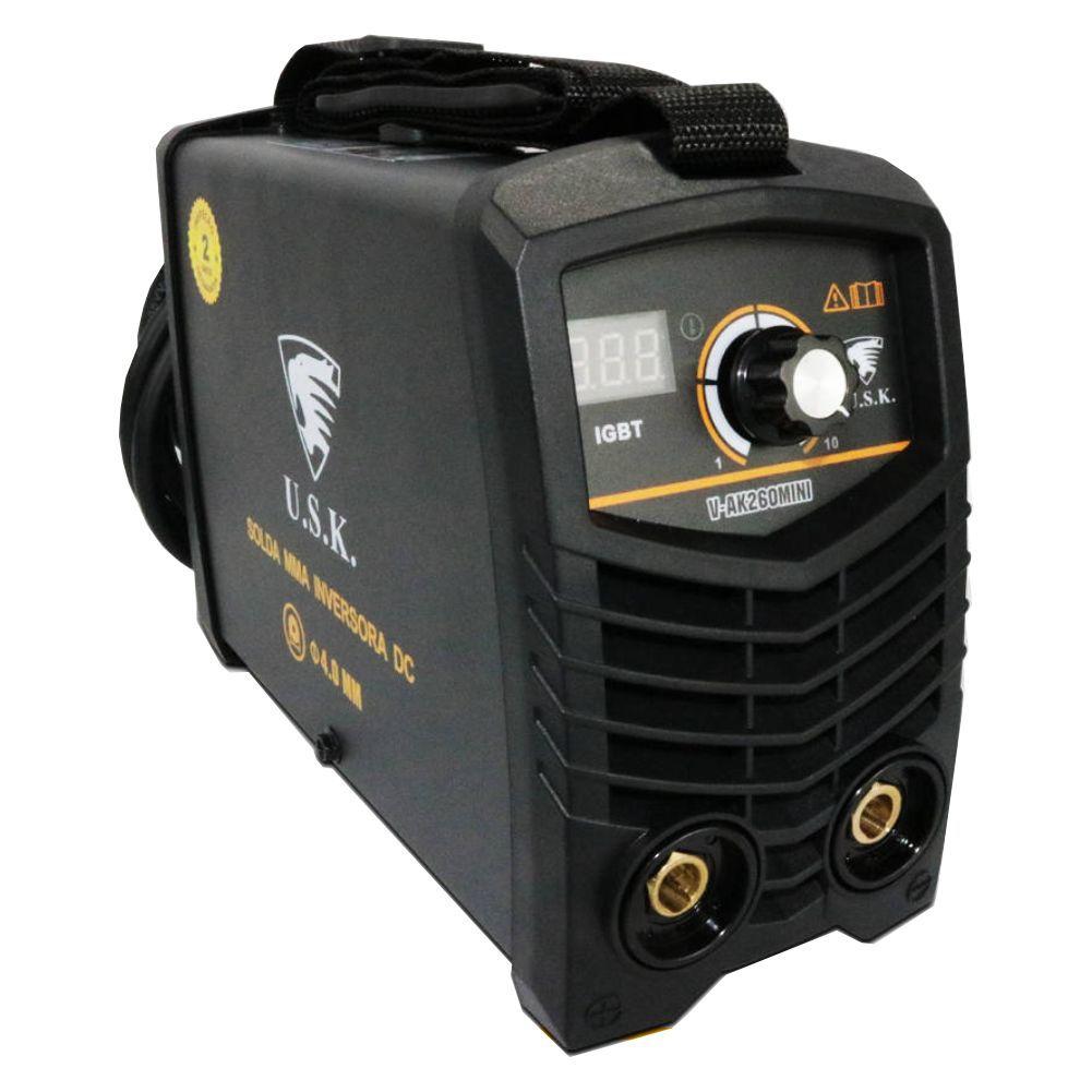 Kit Maquina Inversora P/ Solda Digital Mini MMA 260 220v USK + Mascara Automatica Aguia